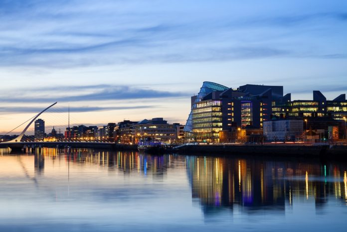 Dublin city and river during sunset
