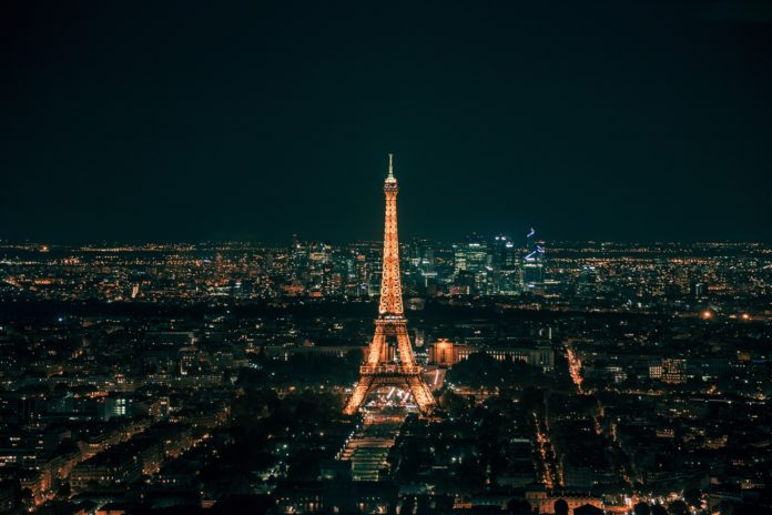 Paris France at night with Eiffel Tower