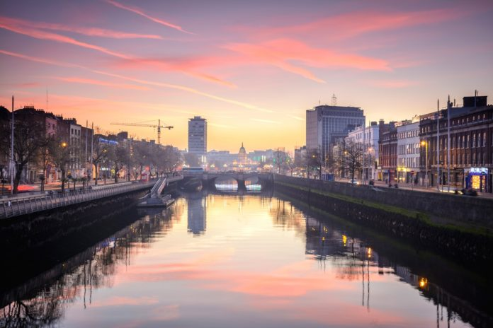 Dublin city as viewed from river Liffey