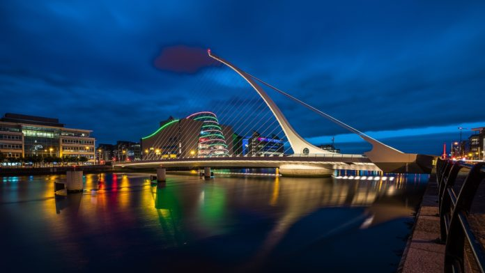 Samuel Becket Bridge at night in Dublin city